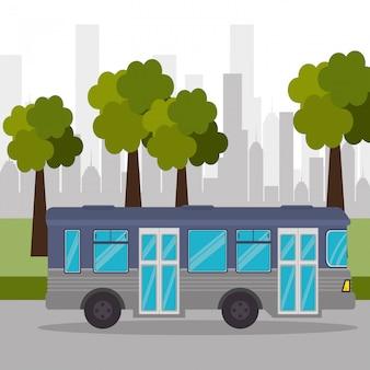 Bus straat boom stadsvervoer