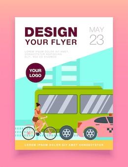 Bus, taxi en fietser rijden op de sjabloon van de folder van de stad weg