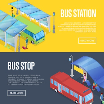 Bus wachtstation isometrische 3d banner web set