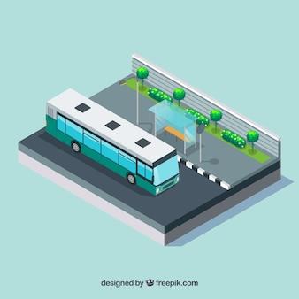 Bushalteachtergrond met bus in isometrische stijl