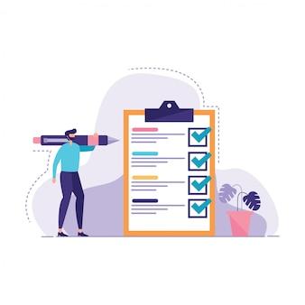 Businesman gemarkeerde checklist illustratie