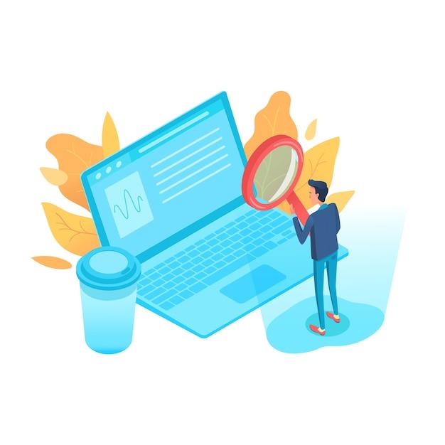 Business analist isometrische karakter. seo, smm. zakelijke statistieken, analyses. commerciële conversie. man analyseren infographics cartoon afbeelding. grafiek, grafiek op laptopscherm