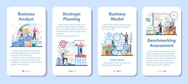 Business analist mobiele applicatie banner set