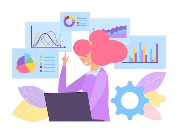 Business analyse concept illustratie. specialist achter laptop simuleert de winststijging van financiële grafiekbedrijven.