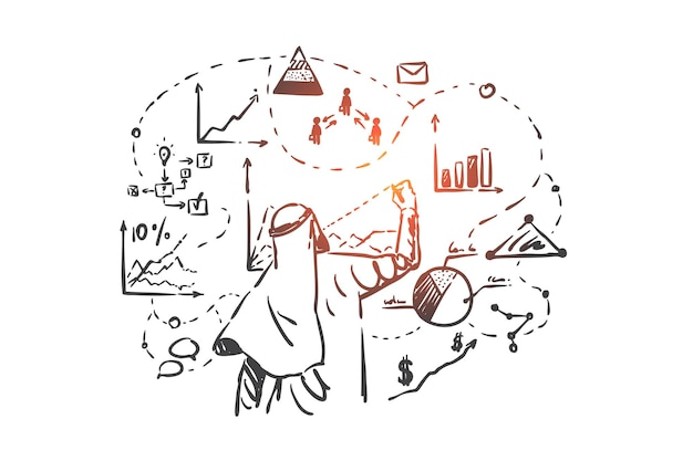 Business analytics, analyse concept illustratie