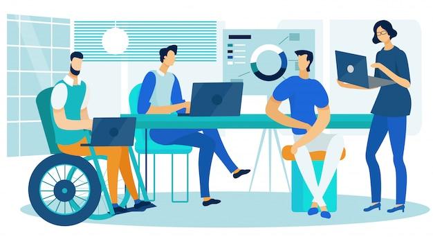 Business analytics creative team werkt in office