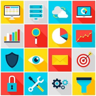 Business analytics kleurrijke pictogrammen. vectorillustratie. big data set van platte rechthoekige items met lange schaduw.