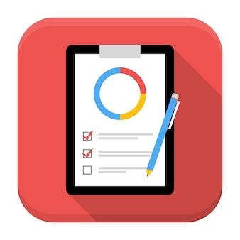 Business board app icoon met lange schaduw. plat gestileerd vierkant app-pictogram met lange schaduw