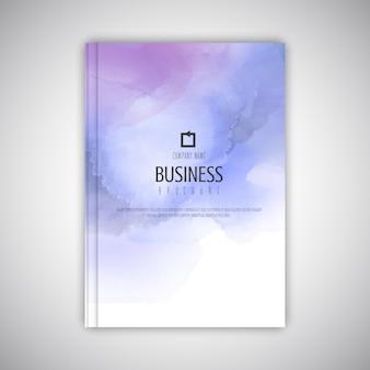 Business brochure sjabloon met aquarel textuur