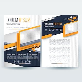 Business brochure sjabloon met oranje en donkerblauwe golvende vormen