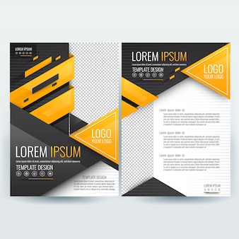 Business brochure sjabloon met oranje en zwart geometrische driehoek vormen