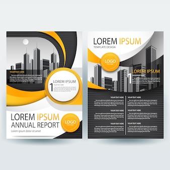 Business brochure sjabloon met oranje en zwarte golvende vormen