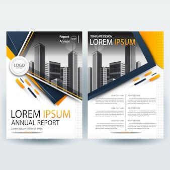 Business brochure sjabloon met oranje geometrische vormen