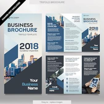 Business brochure template in tri-fold lay-out. corporate design leaflet met vervangbaar beeld.