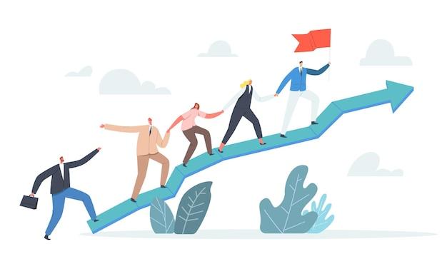 Business characters team klimmen op enorme groeiende pijlgrafiek. leider staan bovenop met gehesen vlag, zakenmensen teamwork en leiderschap, investeringsgroeiconcept. cartoon vectorillustratie