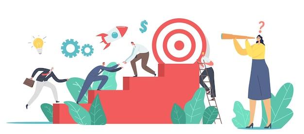 Business characters team traplopen met enorm doelwit bovenop. mensen uit het bedrijfsleven volgende stap, bereik het volgende doel. teamwerk en leiderschap, investeringsgroei, uitdagingsconcept. cartoon vectorillustratie