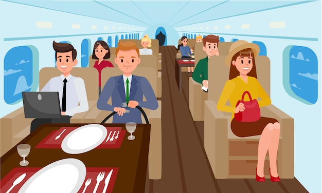 Business class in vliegtuig vlakke afbeelding.