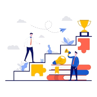 Business coaching en trainingsconcept met karakter.