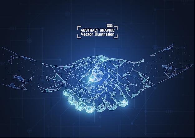 Business concept handdruk. abstract netwerk en punten