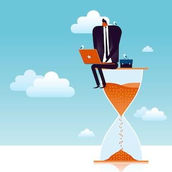 Business concept illustratie, geschikte man aan het werk op een gigantische zandloper met vogels aan zijn zijde