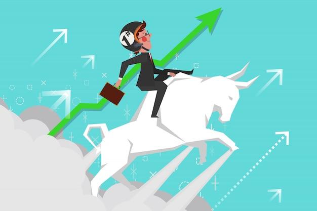 Business concept, jonge zakenlieden rijden stierengevechten in de lucht, cartoon character design flat style