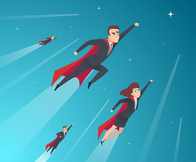 Business concept karakters. professioneel team dat krachtige superhelden in actie werkt, vormt een zakelijke achtergrond