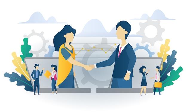 Business concept samenwerking vlakke afbeelding