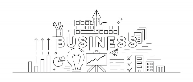 Business concept theme line art design