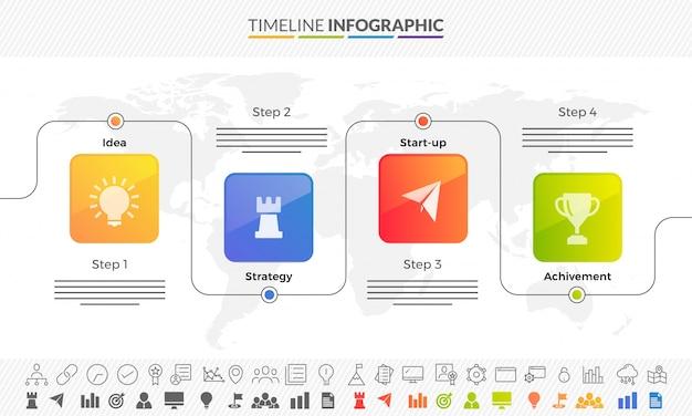 Business concept tijdlijn pijlen. infographics layout met 4 stappen en twee verschillende stijl iconen ingesteld.