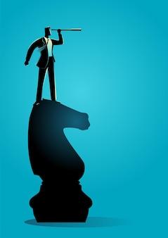 Business concept vectorillustratie van zakenman met telescoop staande op schaakridder, strategie, visie concept