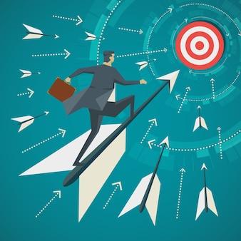 Business concept. zakenman sta op de pijlen die voor het doel zijn geschoten.