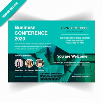 Business conferance horizontal flyer design