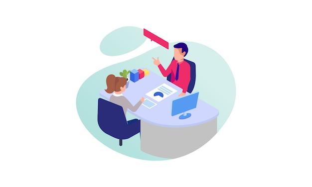 Business consulting concept illustratie. platte ontwerp met stripfiguren