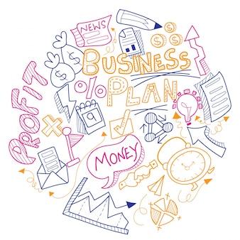 Business doodle, met kleurrijke zakelijke bord, symbolen en iconen.