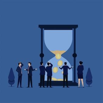 Business flat concept zandtijd is voorbij en verdient een beetje geld metafoor van onproductieve tijd of tijdverspilling.