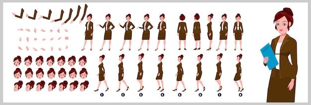 Business girl karaktermodelblad met loopcyclusanimaties en lipsynchronisatie