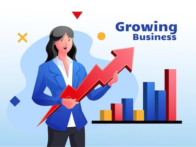 Business groei consultant bedrijfsconcept met pijlsymbool