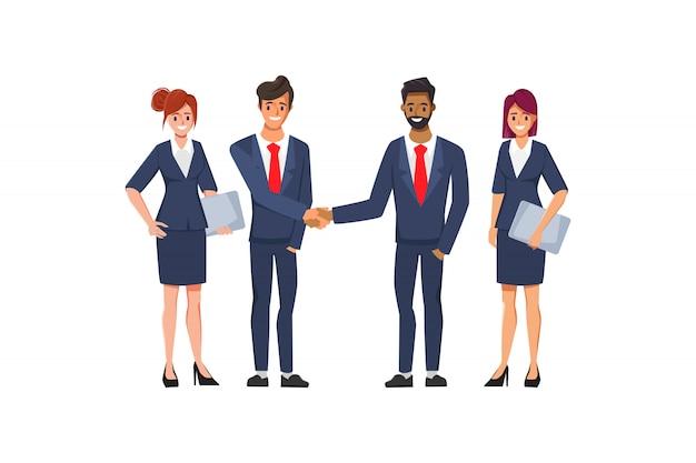 Business groep mensen teamwerk concept achtergrond. illustratie plat ontwerp.