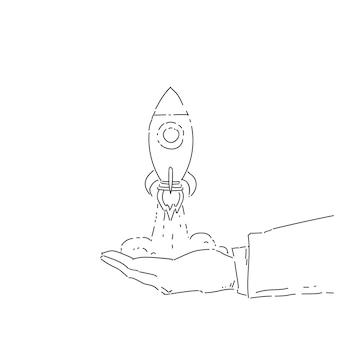 Business hand stunt lancering ruimte schip nieuwe stratup strategie ontwikkeling concept