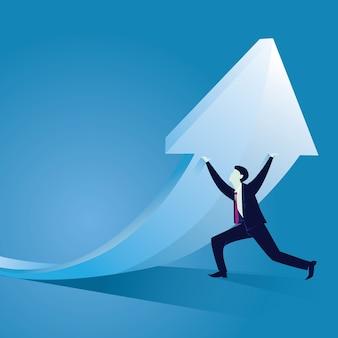 Business hard werken om succes te bereiken concept