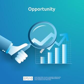 Business idee analytische en kansonderzoek concept met groei grafische grafiek en vergrootglas bij de hand. financiënprestaties van rendement op investering roi-illustratie met pijlelement