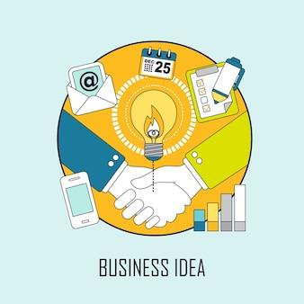 Business idee concept: zakenlieden schudden hun handen in lijnstijl