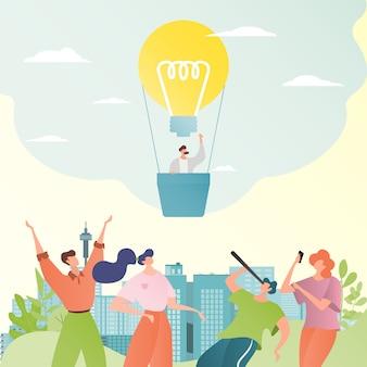 Business idee illustratie. mensen uit het bedrijfsleven kijken naar gloeilamp als ballon met hete lucht. zakenman met telescoop.