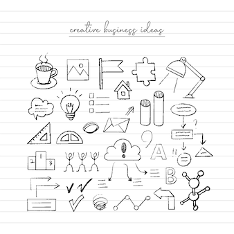 Business idee schets. hand getekende doodle.