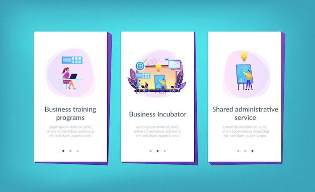 Business incubator app interface sjabloon.