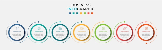 Business infographic debusiness infographic sjabloon teken sjabloon vector met pictogrammen en zeven zeven opties of stappen.