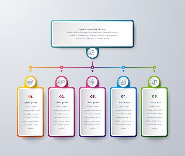 Business infographic-ontwerp met proceskeuzes of stappen.