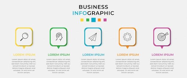 Business infographic ontwerpsjabloon 5 opties of stappen.