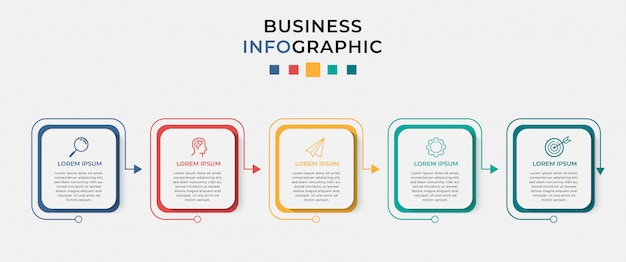 Business infographic ontwerpsjabloon 5 opties of stappen.
