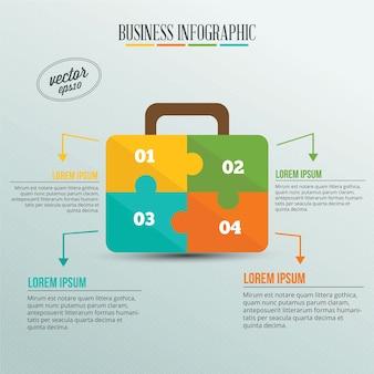 Business infographic, puzzel van een koffer